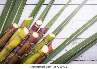 Sugarcane and green leaf close up on rustic white table