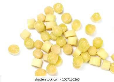 sugarcane, pieces of sugarcane fresh over white background, abstract pile of sugarcane pieces cut many for background, sugarcane agriculture