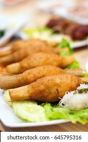 Sugarcane skewered fried minced shrimps or Chao tom, Vietnamese food, selective focus