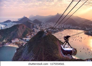 The Sugarloaf Cable Car on susnet, Rio de Janeiro, Brazil, 2016
