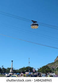 Sugarloaf cable car seen from Urca, in a sunny day.