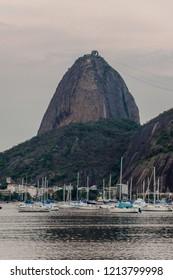 Sugarloaf mountain behind Botafogo bay in Rio de Janeiro, Brazil