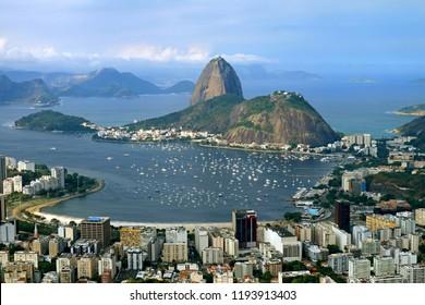 Sugarloaf Mountain or Pao de Acucar, the famous landmark of Rio de Janeiro as seen from Corcovado Hill, Brazil