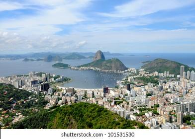 Sugarloaf Mountain in Rio de Janeiro, Brazil. Guanabara bay, boats and the busy city.