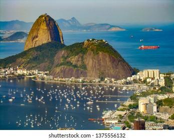 Sugarloaf Mountain in Rio de janeiro taken from Corcovado mountain