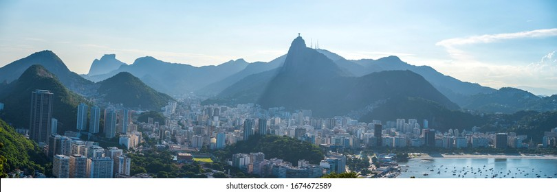 Sugarloaf view of Rio De Janeiro and the statue of Jesus Christ. Brazil