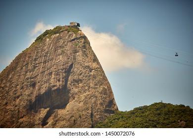 Sugarloaf's cable car over on Urca beach, Rio de Janeiro, Brazil
