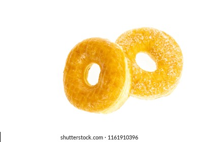 sugary donuts on white background.