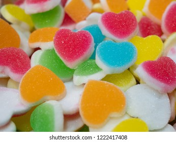 Sugary heart shaped jelly. Heart jelly coated with sugar. heart colorful sweet.