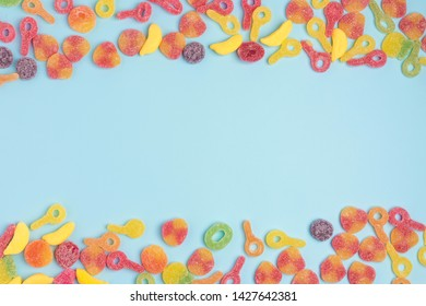 sugary jellies isolated on a blue background