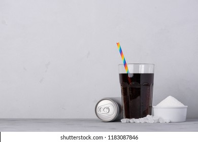 Sugary soft drink with high sugar content concept with side copy space