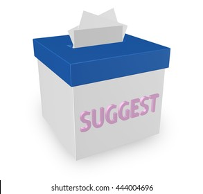 "Suggest word on a collection box soliciting ideas, comments, opinions, feedback, suggestions. ""3d illustration"""