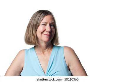 Suggestive wink from an attractive older woman