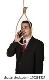 Suicidal businessman contemplating hanging because of phone call