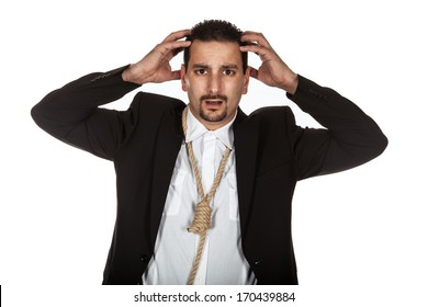 Suicidal businessman with a rope noose around his neck