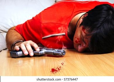 Suicide by gun scene