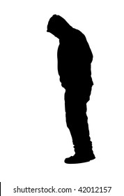Suicide Man Standing on toes Wearing Sweatshirt with Hood Silhouette isolated on a white background.