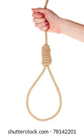 Suicide Noose in hand isolated on white