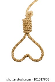 Suicide Noose in heart symbol isolated on white background