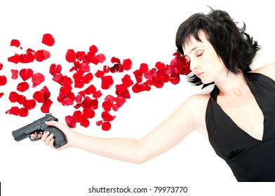 Suicide woman lying on the floor with gun and metaphoric blood isolated on white