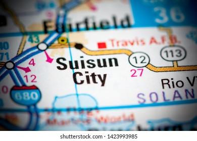 Suisun City. California. USA on a map