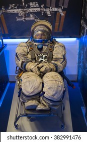 Suit cosmonaut Yuri Gagarin during his first flight into space at an exhibition in Kostroma, Russia, February 10, 2016