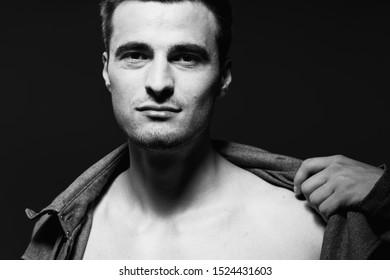 suit naked torso cropped view man portrait