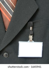 suit and name tag
