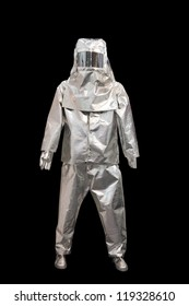 suit of protection against fire isolated on a black background