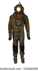 Suit of the submariner diver isolated on white