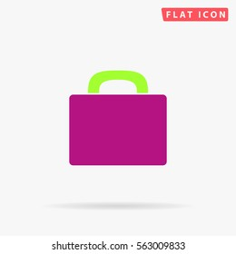 Suitcase. Flat color symbol icon on white background with shadow