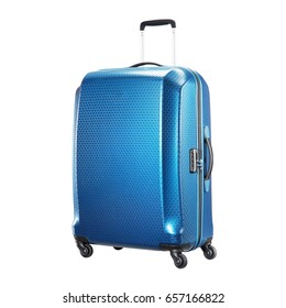 Suitcase Isolated on White Background. Blue Vip Trolley Luggage Bag. Trolley Travel Case. Spinner Trunk
