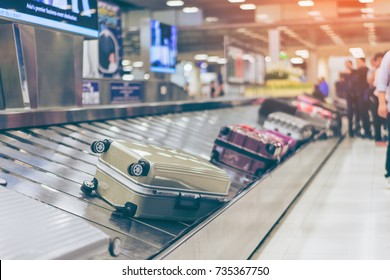 Suitcase or luggage with conveyor belt in the international airport.
