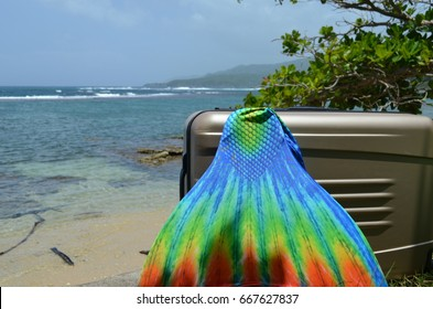 Suitcase and mermaid tail with ocean view