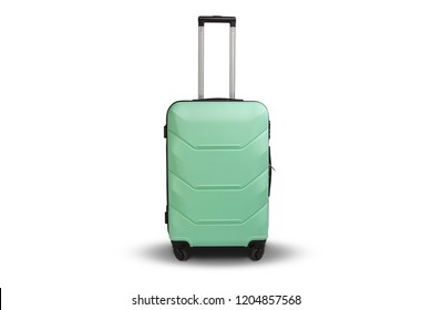 Suitcase on wheels light green color on a white isolated backgro
