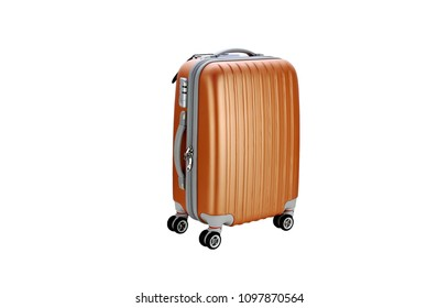 Suitcase on wheels for travel. Orange suitcase on wheels isolated on white background. Close view suitcase travel