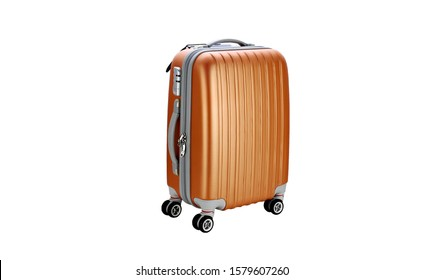 Suitcase on wheels for travel. Suitcase on wheeels. Suitcase isolated