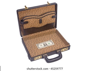 suitcase with one dollar