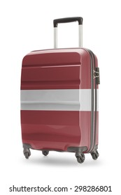 Suitcase painted into national flag - Latvia