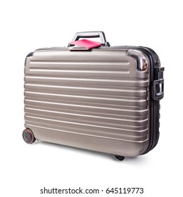 Suitcase and passport isolated on white background clipping path included. Business travel concept