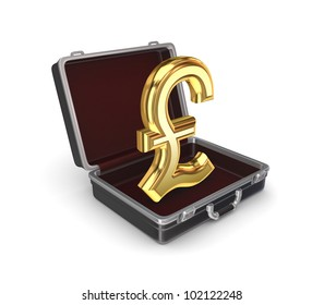 Suitcase with a pound sterling sign. Isolated on white background.3d rendered.
