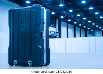 Suitcase stands at the airport. Luggage packing. Luggage in the plane. Check in your luggage at the airport. Waiting for the flight. Journey. Tourism. Case for transportation of equipment.