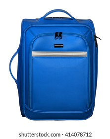 Suitcase for travel. Blue color with silver accents. Extendable handle removed.