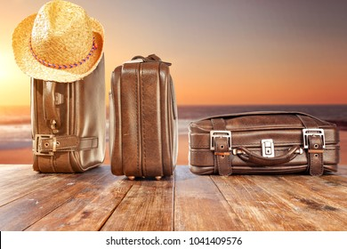 Suitcase of travel time and free space for your decoration.