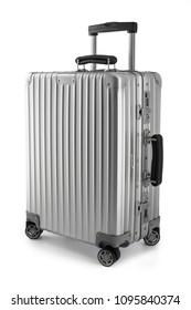 Suitcase or traveling luggage bag isolated on white background.