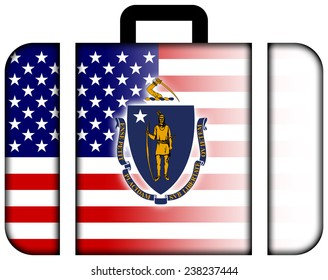 Suitcase with USA and Massachusetts State Flag