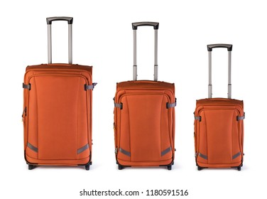 suitcases on white background