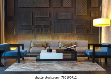 Suite Hotel Room and Wooden Wall Blurred Background