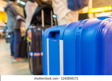 Suitecase luggage on rail in airport check in counter, Travel concept
