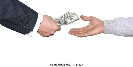 a suited hand handing some money to a poor looking hand
